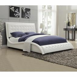 Coaster Tully Upholstered Queen Bed in White Vinyl