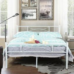 Full Size Metal Bed Frame Mattress Foundation with Headboard