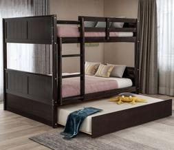 Full Over Full Bunk Bed W/Trundle, Beds Frame W/Ladder Headb