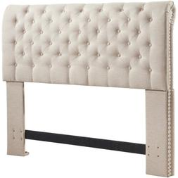 Full Queen Cal King Beige Sand Rolled Tufted Upholstered Fab