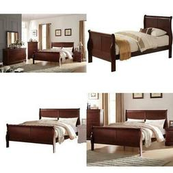 Full Size Wooden Sleigh Bed Frame Headboard Footboard Cherry