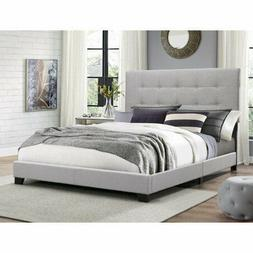 Gray Twin Bed Frame Tufted Headboard Platform Bed with Slat