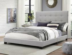 Full Size Platform Bed Frame Upholstered Headboard Tufted Be