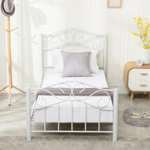 Twin Size Metal Frame Mattress Headboard and White