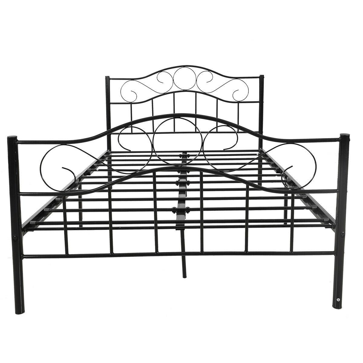 Queen Twin Size Bed Metal Bed Frame Platform Black/White