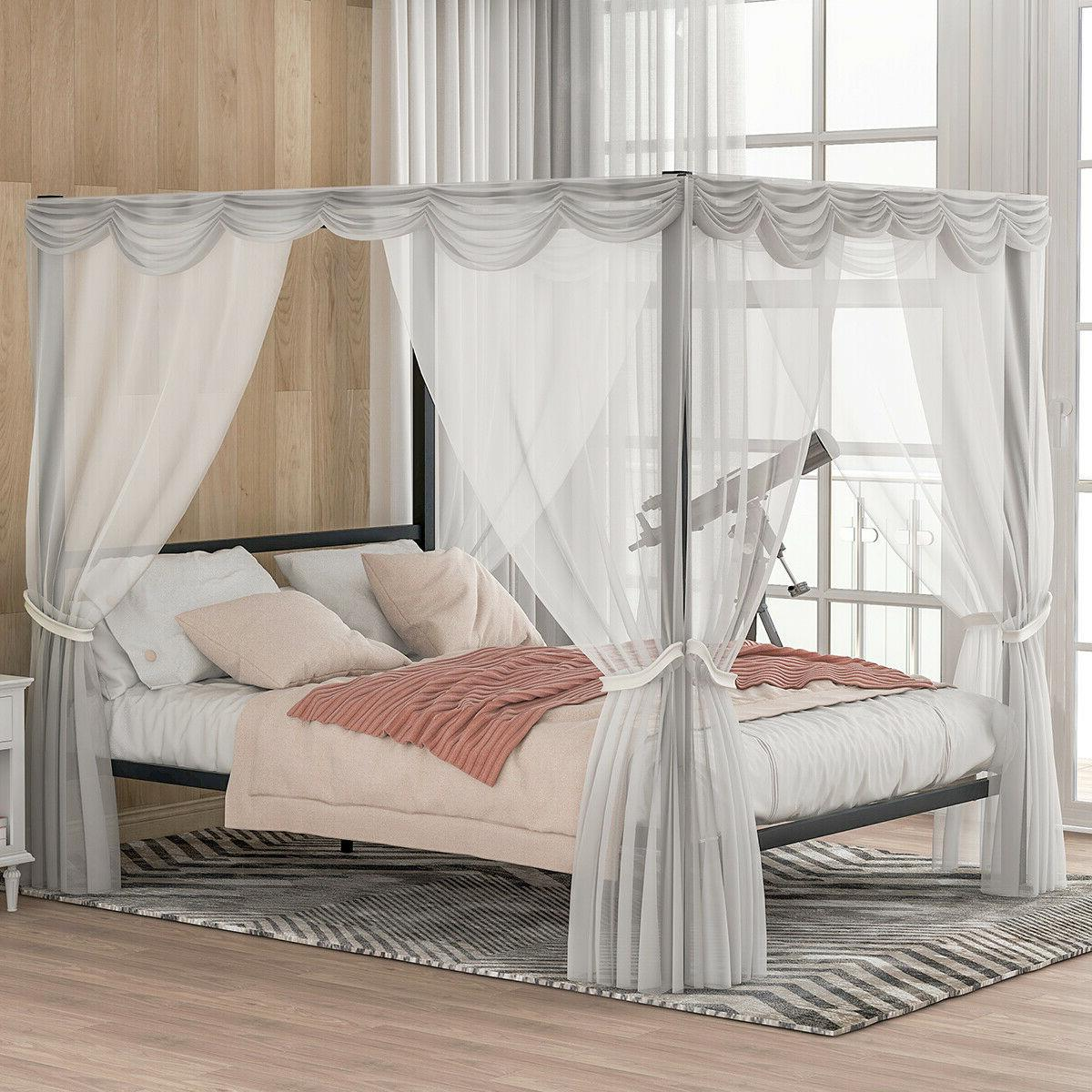 queen size metal bed frame canopy bed