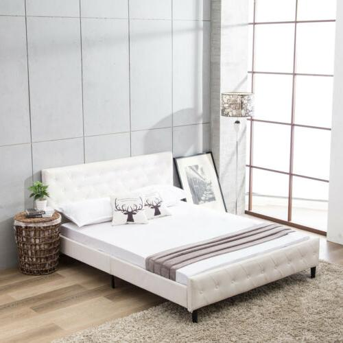 Queen Size PU Leather Metal Bed Frame Platform Button Tufted