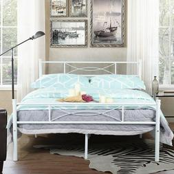 Metal Bed Frame Full Size Mattress Foundation with Headboard