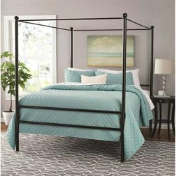Metal Four-Post Canopy Bed Queen Modern Design by Mainstays