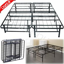KING Size Metal Bed Frame Heavy Duty Folding Platform Mattre