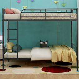Metal Twin Size Over Bunk Beds Frame with Ladder Kids Bedroo