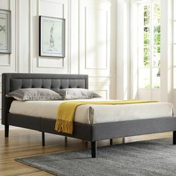 Modern Contemporary Platform Bed with Headboard King Size Up