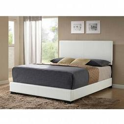 Modern Queen Size Platform Bed Frame With Headboard Faux Lea