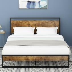QUEEN FULL Size Platform Metal Bed Frame With Wood Headboard