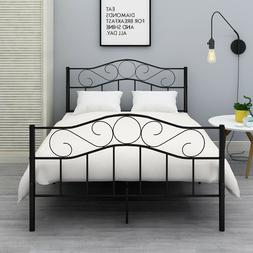 Queen Full Twin Size Bed Metal Bed Frame Platform Headboard