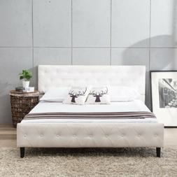 Queen Size Metal Bed Frame Platform PU Leather Button Tufted