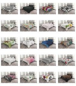 Ambesonne Quilted Bedspread Set Printed Coverlet