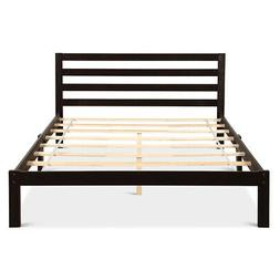 Solid Wood Platform Foundation w/ Headboard Queen Size Bed F