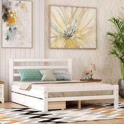 Twin/Full Size Platform Bed w/ Two Drawers Storage Bed Woode