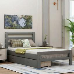 Twin Size Gray Wood Bed Frame Daybed with 2 Storage Drawers