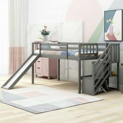 Twin Size Low Loft Bed with Adjustable Slide and Staircase B