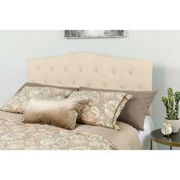 Upholstered Headboard King Size Tufted Fabric Bed Frame Moun