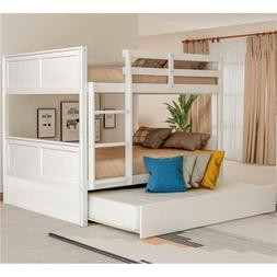 White Full Over Full Bunk Bed w/Twin Size Trundle & Ladder B