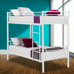 Metal Twin over Twin Bunk Bed Frame Ladder Bedroom for Kids