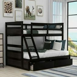 win over Full Bunk Bed with Storage Plywood+MDF+Pinewood Bed