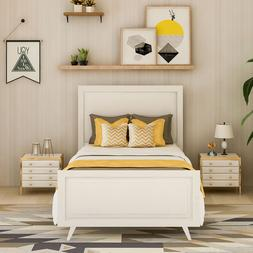 Wood Platform Bed Twin Bed Frame Mattress Foundation with He