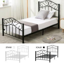 Wood Slats Metal Platform Bed Frame Mattress Foundation Full